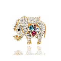 새로운 귀여운 코끼리 동물 여성 여자 스카프 핀 18K 골드 도금 보석 도매를 제공하기위한 다채로운 라인 석 꽃 브로치를 브로치