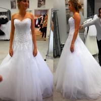 Cordón caliente A-Line Vestido de novia más tamaño apliques del hombro Vestido de NOIVA Vestidos de novia de alta calidad CASAMENTO