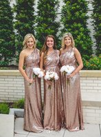 Bling Rose Gold One- Shoulder Sequined Maid of Honor Dresses ...