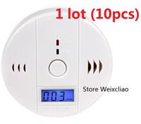 Piller Ile 10 adet 1 grup CO Karbon Monoksit Alarm Dedektörü Zehirlenme Gaz Duman Sensörü Ev Kullanımı Kolay Yüklemek Ses LCD Ücretsi ...