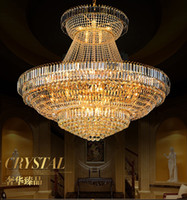Modern Crystal Chandeliers Lighting Fixture Big Round Gold C...