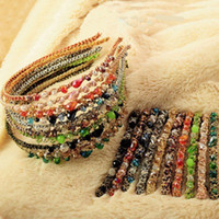 패션 보헤미안 스타일 여성 크리스탈 여러 가지 빛깔의 골드 와이어 헤드 후프 머리핀 머리띠 헤어 클립 액세서리 여자 머리 장식 액세서리