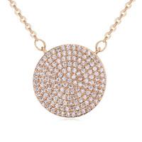 Yeni Moda Nikel Ücretsiz Mücevherat Dairesel Kolye Kadın Zirkon Yuvarlaklık Kolye Kolye Için Parti düğün Takı Aksesuarları