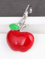 20PCS / الكثير التفاح الأحمر العائمة قلادة السحر ملائمة للالمغناطيسي الذاكرة المنجد قلادة سوار صنع المجوهرات
