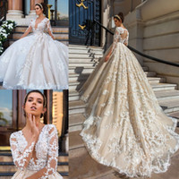 Luxury Long Sleeve Wedding Dresses Plunging Neckline Lace Ap...