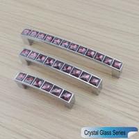 New Crystal Glass Series Diamond Deep Purple Furniture Handle Door Dresser Drawer Wardrobe Kitchen Cabinets Cupboard Dresser Pull Door Knobs