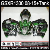 verde lucido 8gifts Per SUZUKI Hayabusa GSXR1300 08 15 GSXR-1300 14MY143 GSXR 1300 GSX R1300 08 09 10 11 12 13 14 15 Kit carena verde nero