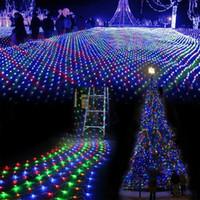 1.5 × 1.5 متر 96 led 8 أوضاع فلاش 220 فولت الاتحاد الأوروبي التوصيل متعدد الألوان صافي سلسلة ضوء عيد الميلاد الديكور عطلة في الهواء الطلق