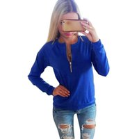 Women V- Neck Long Sleeve Hoodies Sweatshirt Winter Jumper Pu...