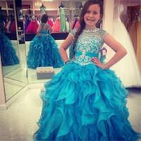 Robes De Graduation Enfants Vestidos De Daminha 2019 Bleu Organza Robe De Bal Fleur Longues Filles Robes Avec Des Volants