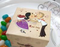 Großhandel - 50 stücke Kuss Tag Braut Bräutigam Hochzeit Papier Geschenkbox Schmuck Süßigkeitenkiste