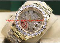 وصول جديدة أعلى جودة فاخرة ساعة اليد 18K الذهب الأصفر حركة الميكانيكية 41MM الماس الطلب أكبر الحافة الماس ووتش