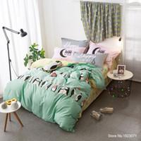 Panda Penguin Dolphin Shark Bedding Set 100 Cotton Fabric Kids Duvet Cover Sheet Sets Bedspread Queen Size Bed Linen 4 Pieces