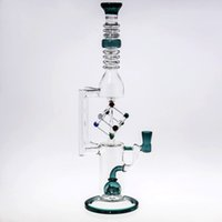 2017 Cool Fashion Unique Cube Glass Bongs Becher Tubi per acqua Percperclatore Riciclare Oil-Rigs Water-Bong 35cm Alto Con Bowl Joint 14,4 mm