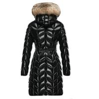 Женщины нейлон вниз длинный пиджак дизайнер леди меховые с капюшоном на молнии зима зима стройная тушь мода девушка стоять воротник теплый мягкий слой
