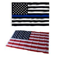 Amerikanische USA US-Flaggen Blaue Linie 90x150 cm 3 von 5 Fuß dünne rote Linie schwarz weiß und blau mit Messing-Tüllen