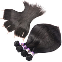 Mongolian Straight Virgin Hair With Closure Top 8A Unproesse...