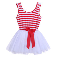 hot sell striped tutu tulle dress with bow, Girls summer bab...