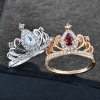 Silver Gold Color Cubic Zirconia Hollow Heart Rings Crown Ri...