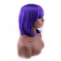 Parrucca sintetica corta sintetica breve rettilineo parrucca viola per costume da party Parrucca per capelli anime peruca Peluca Capelli finti