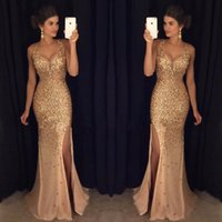 2K17 Sparkle Gold Crystal Prom Dresses Mermaid con scollo a V High Side Split Abito da sera lunghezza formale lungo dressess promenade
