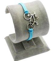 Pulseira de bicicleta Infinito Charm Bracelet Prata antigo Cords cera ajustável Weave Bangle Vintage Declaração de jóias presente de Natal Europeia