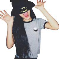 Fashon Alienígena T Camisas para As Mulheres soltas fit t-shirt de Manga Curta Camiseta Casual Top de Culturas min tshirt NV10 RF