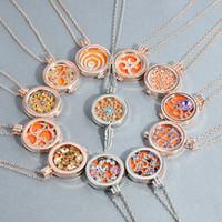 Aromaterapia Locket Collar Oro Plata Colores Aceite Esencial Difusor Medallones Colgantes Con 25 Pulgadas Joyería de Moda 12 Estilos