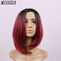 hair Short Bob Synthetic wig Heat Resistant Hair black Ombre...