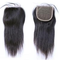 Brésilien Vierge Cheveux raides 4 * 4 dentelle Top fermeture Moyen partie couleur naturelle peut-elle être Dyed fermeture dentelle