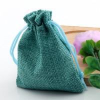 Heta! 50PCS Linen Fabric Drawstry Bags Candy Smycken Presentpåsar Burlap Gift Jute Väskor 7x9cm / 10x14cm / 13x18cm (turkosfärg)