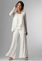 Ivory White Chiffon Lady Mother Pants Suits Mother of The Br...