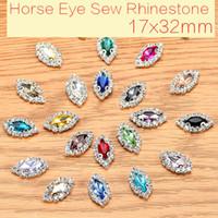17x32mm 20pcs cheval oeil de verre cristal coudre sur les strass avec griffe boutons de bricolage vêtements accessoires