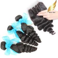 Paquetes de cabello Con Cierre de encaje Virgen del cabello humano indio 3 partes Cierre de encaje Trama del cabello Suelta Wave Color natural 8-30 pulgadas Bellahair