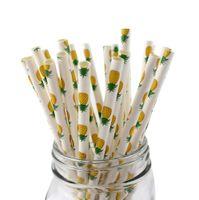 100pcs pajas de papel de piña para la boda, decoración del partido, pañales desechables biodegradables del panal que beben la paja - 7.75 pulgadas