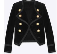 Autunno delle donne New Fashion Design Doppio Bresed Manica lunga Manica lunga Vita Slim Breve Velvet Blazer Vestito Casa CasaCos SMLXL