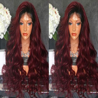 Cheap sexy heavy density long body wave black ombre wine red...