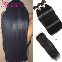 Straight Malaysian Human Hair Bundle with Closure 3Bundles M...