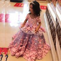 3D Floral Applique robes fille fleur pour les mariages Jewel Sheer manches courtes filles Communion robe magnifique petite princesse anniversaire robe