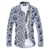 Wholesale- 6XL Printed Blouse Men Designs Casual Chemise Homme Floral Dress Shirts Fashion Slim Blusa Masculina  Formal Camisa Social