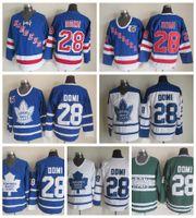 Toronto Maple Leafs Gravata Domi Hóquei Jerseys 2002 CCM Vintage 28 Tie Domi Jersey New York Rangers Cheap costurado 75th Patch