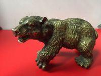 Nadir Çin Eski Pirinç Koleksiyonu El Yapımı Oyma siyah ayı Heykeli bronz sıcak