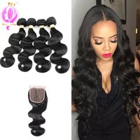 Brazilian Virgin Hair 4 Bundles With Lace Closure 100% Human...