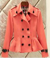 봄과 가을 짧은 레저 패션 뜨거운 스타일의 고급 더블 브레스트 트렌치 코트 옷깃 / S-3XL