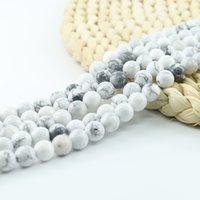Redondo magnífico Natural blanco pulido de los granos flojos de Howlite Para fabricación de la joyería 4/6/8/10 mm 15 pulgadas Strand por juego # L0054