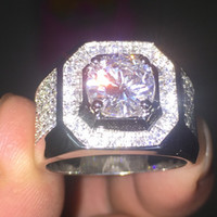 2016 Nouveaux Bijoux Bague De Mariage Pour Hommes De Mode Atmosphérique 925 Sterling Argent Simulé Diamant CZ Anneaux Garçon Taille 7-13