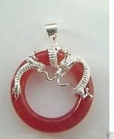 genuine Red Jade Sterling silver Dragon Pendant