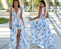 Fashion Bohemian beach maxi dresses V neck floral print spli...