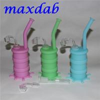 Glow in Dark Silicone Oil Drum Rigs Narghilè Mini Silicon Rig Bongs Tubo dell'acqua con vetro lungo termine e bangers al quarzo