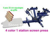 شحن مجاني سريع! مع الهدايا 4 لون 1 محطة آلة الطباعة الحريرية t-shirt طابعة الصحافة معدات كاروسيل الممسحة